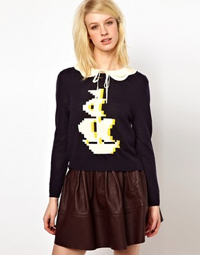 Image 1 ofOrla Kiely Button Back Sweater in Pixelated Galleon Design
