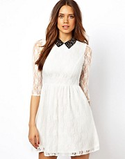 Lipsy Beaded Collar Lace 3/4 Sleeve Skater Dress