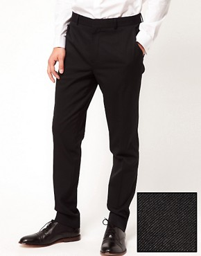 ASOS Skinny Fit Tuxedo Suit Trousers In Black Polywool