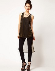 ASOS Metallic Vest With Dipped Back