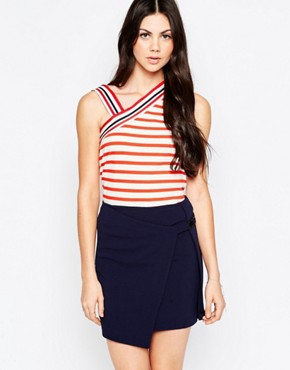 See By Chloe Stripes Vest Top With Asymmetric Shoulder