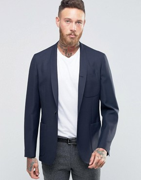 Hart Hollywood by Nick Hart Slim Unlined Blazer With Shawl Collar