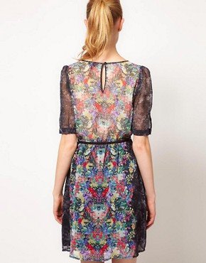 Image 2 ofWarehouse Secret Garden Print Mini Dress