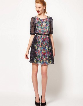 Image 4 ofWarehouse Secret Garden Print Mini Dress