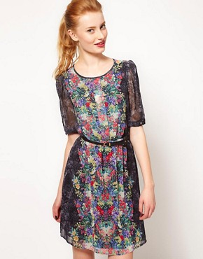 Image 1 ofWarehouse Secret Garden Print Mini Dress
