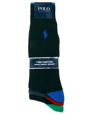 Image 3 ofPolo Ralph Lauren 3 Pack Socks Ribbed Contrast