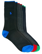 Polo Ralph Lauren 3 Pack Socks Ribbed Contrast