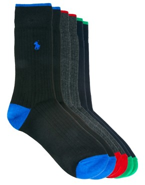Image 1 ofPolo Ralph Lauren 3 Pack Socks Ribbed Contrast