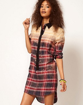 Image 1 ofASOS Shirt Dress In Bleach Check