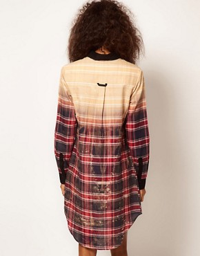 Image 2 ofASOS Shirt Dress In Bleach Check