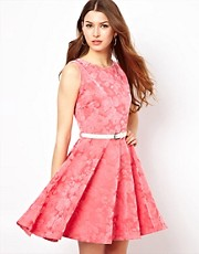 Club L Floral Flocked Skater Dress With Belt