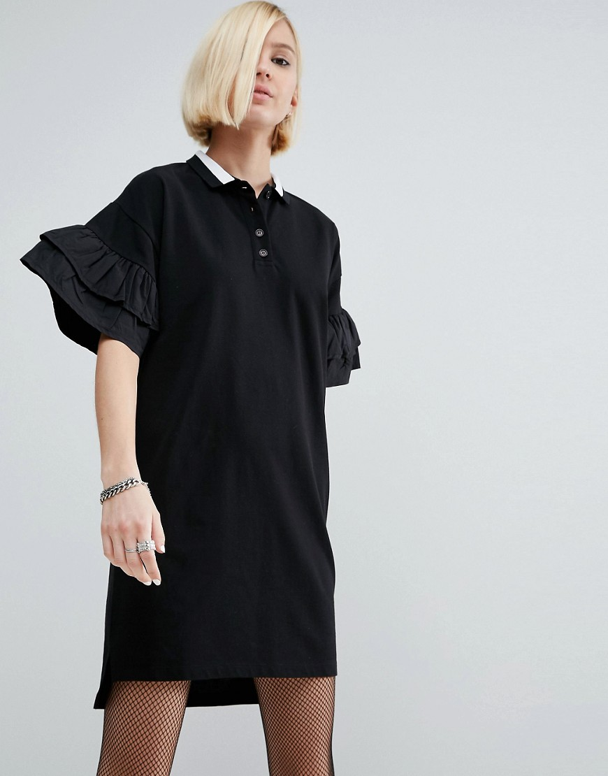 ASOS Polo Shirt Dress With Woven Frill Sleeves