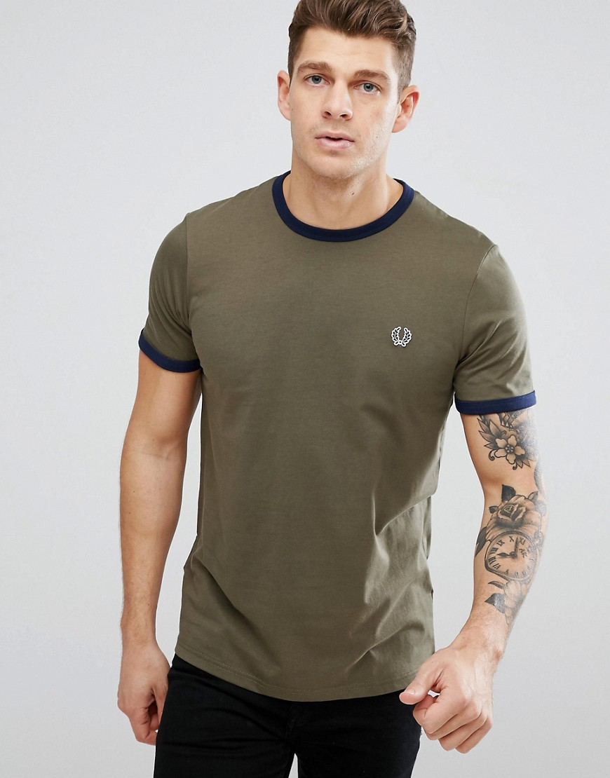 Fred Perry Slim Fit Sports Authentic Ringer T-Shirt In Olive - Iris leaf