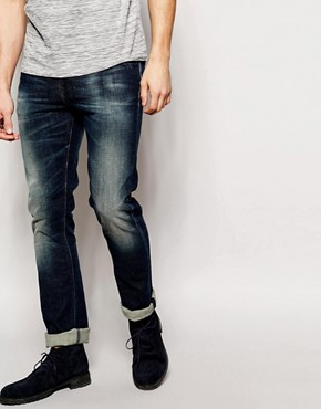 Nudie Jeans Tube Tom Skinny Fit Stretch Navy Worn In