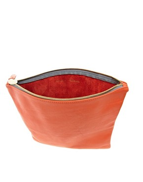 Image 2 ofClare Vivier Leather Orange Foldover Clutch