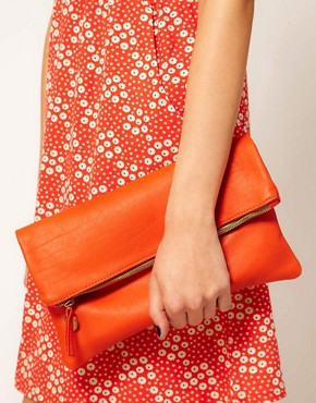Image 3 ofClare Vivier Leather Orange Foldover Clutch