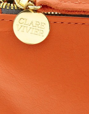 Image 4 ofClare Vivier Leather Orange Foldover Clutch