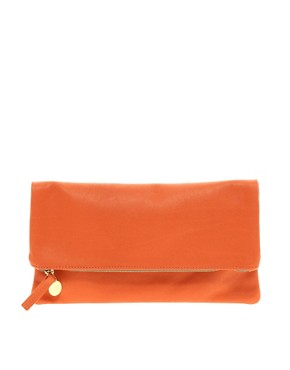 Image 1 ofClare Vivier Leather Orange Foldover Clutch