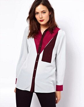 Image 1 of ASOS Shirt With Colourblock And Pocket