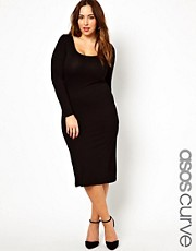 Vestido ajustado semilargo de manga larga exclusivo de ASOS CURVE