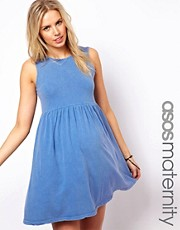 ASOS Maternity Sleeveless Skater Dress In Stone Wash