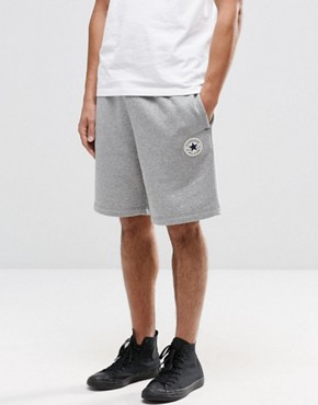Converse Chuck Patch Jersey Shorts In Grey 10002136-A01
