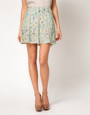 Image 4 ofASOS Embellished Skirt with Floral Embroidery