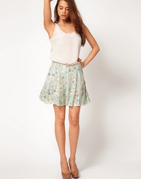 Image 1 ofASOS Embellished Skirt with Floral Embroidery