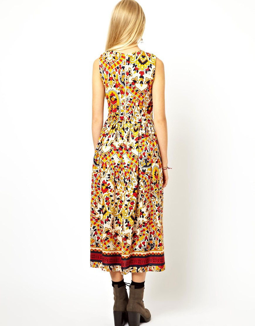 Image 2 of ASOS Midi Dress In Mosaic Print