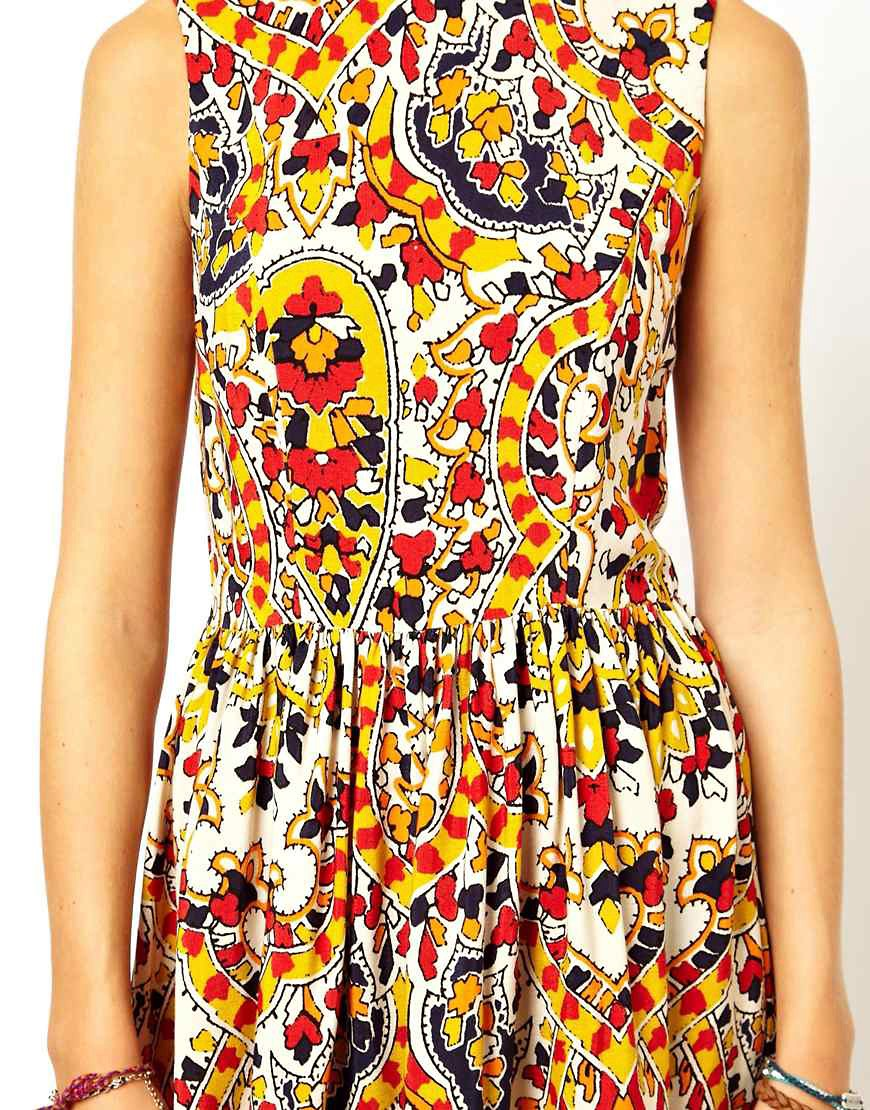 Image 3 of ASOS Midi Dress In Mosaic Print