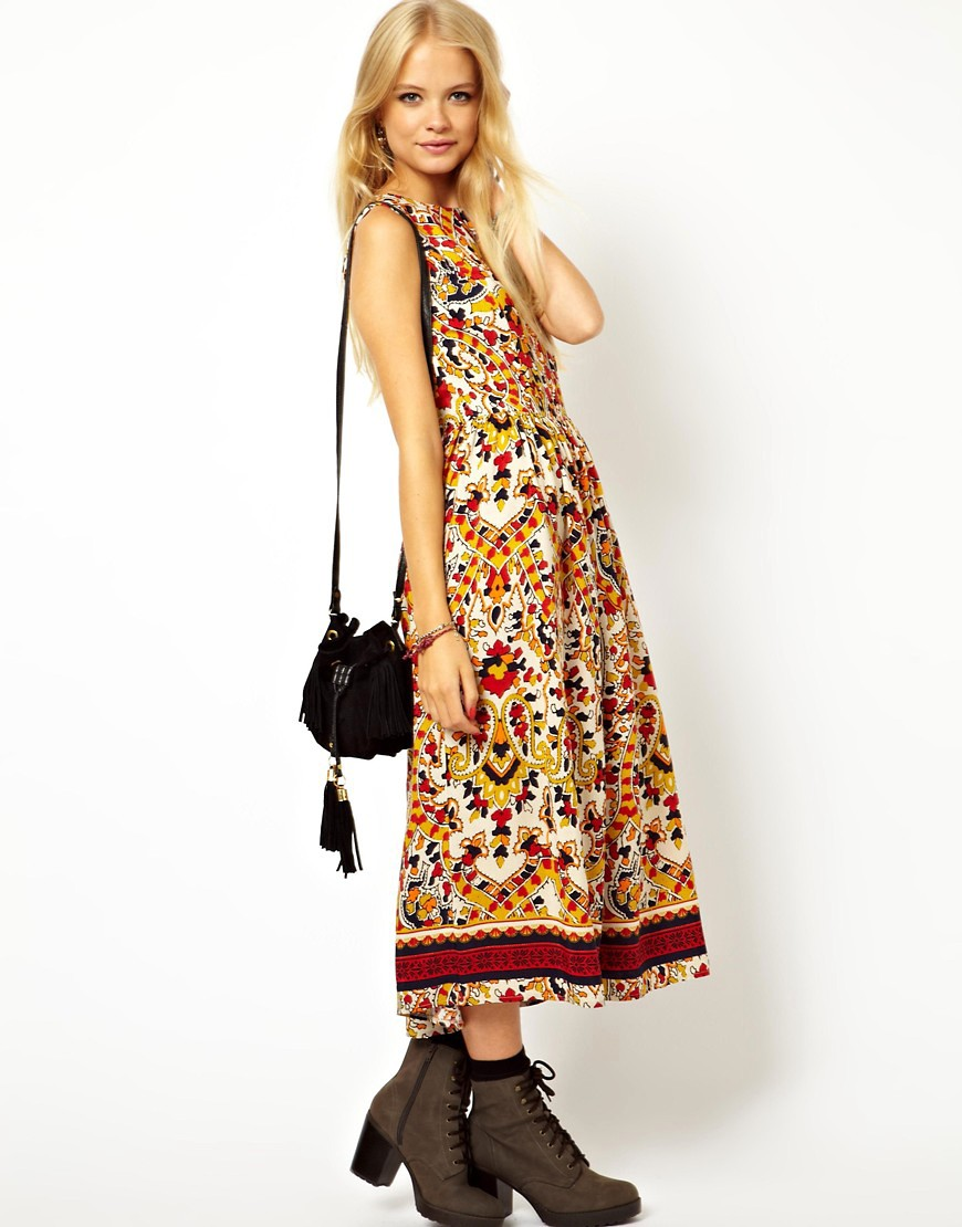 Image 4 of ASOS Midi Dress In Mosaic Print