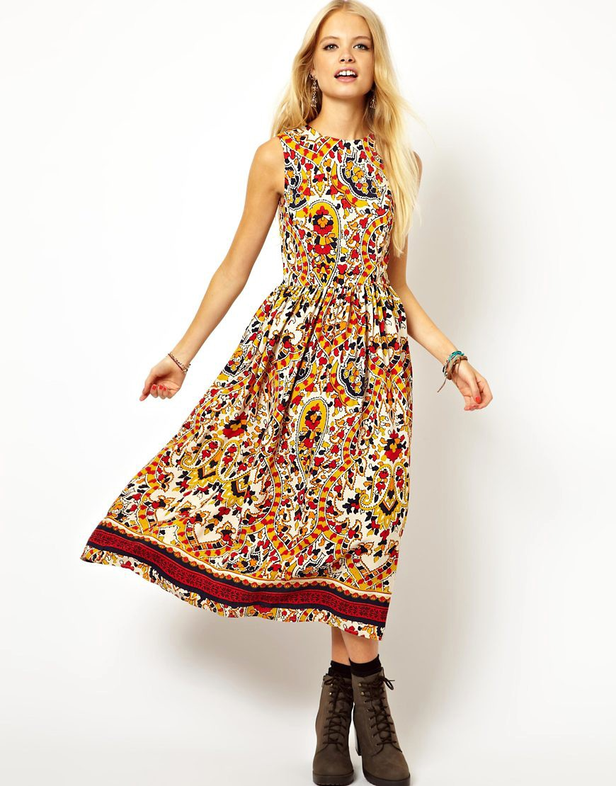 Image 1 of ASOS Midi Dress In Mosaic Print