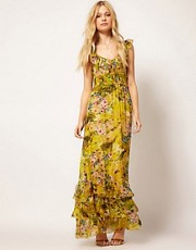 Traffic People Silk Maxi Dress In Faded Floral Print