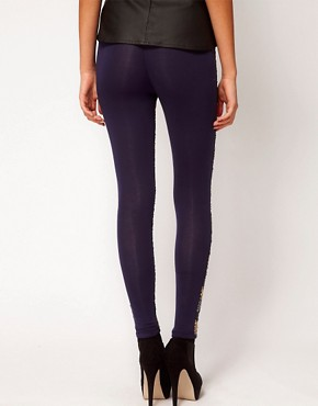 Image 2 ofASOS PETITE Exclusive Leggings In Zig Zag Sequins