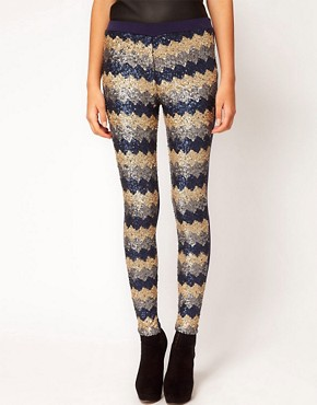 Image 4 ofASOS PETITE Exclusive Leggings In Zig Zag Sequins