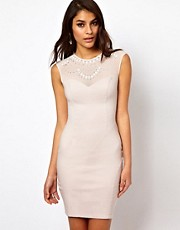 Lipsy Dress with Embellished Mesh Neckline