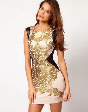 Image 1 of Lipsy Foil Printed Body-Conscious Dress