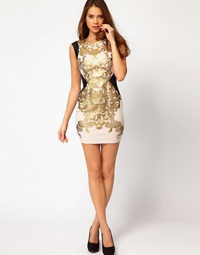 Image 4 of Lipsy Foil Printed Body-Conscious Dress