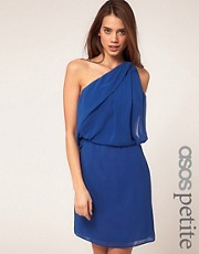 ASOS PETITE One Shoulder Dress with Drape Front