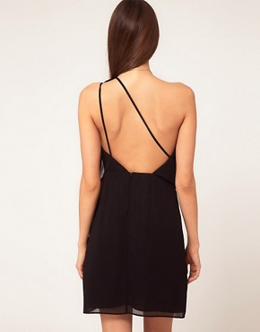 Image 2 ofASOS PETITE One Shoulder Dress with Drape Front