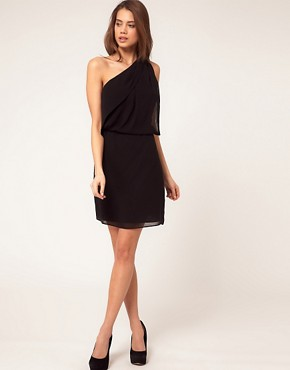 Image 4 ofASOS PETITE One Shoulder Dress with Drape Front