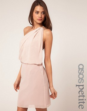 Image 1 ofASOS PETITE One Shoulder Dress with Drape Front