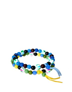 Image 2 of ASOS 2 Pack Bright Multi Bead Bracelet Pack