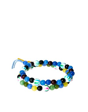 Image 1 of ASOS 2 Pack Bright Multi Bead Bracelet Pack