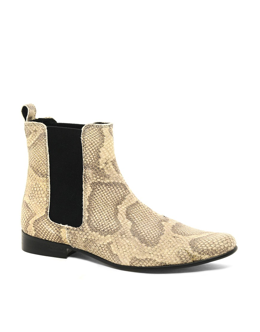 Image 1 of ASOS Chelsea Boots in Snakeskin