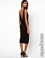 ASOS PETITE Exclusive Bodycon Dress with Sexy Mesh Insert and Low Back