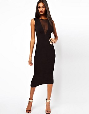 Image 2 ofASOS PETITE Exclusive Bodycon Dress with Sexy Mesh Insert and Low Back