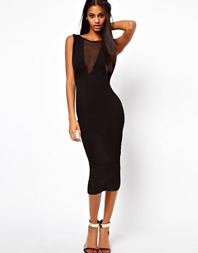 Image 4 ofASOS PETITE Exclusive Bodycon Dress with Sexy Mesh Insert and Low Back