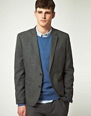 ASOS Slim Fit Check Suit Jacket in Charcoal