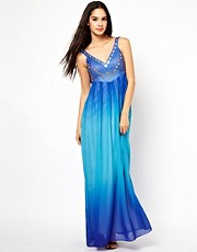 Little Mistress Plunge Neck Maxi Dress in Dip Dye